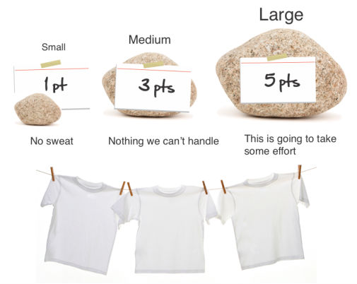 Agile Estimation Points and Tee Shirts